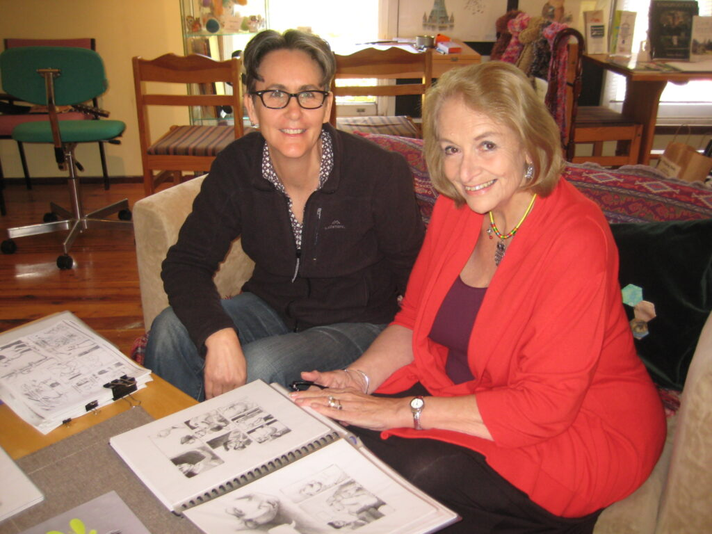 Illustrator in residence - Dale Newman with margaret