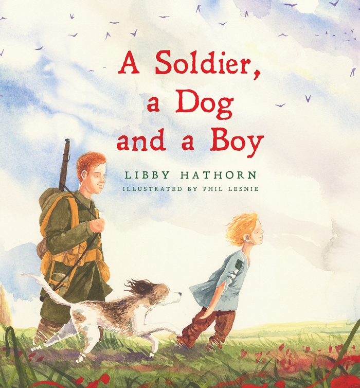 soldier a dog and a boy